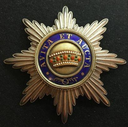 Ordre de la Couronne de Fer, fondé en 1815, plaque de 1re classe (grand-croix) en...