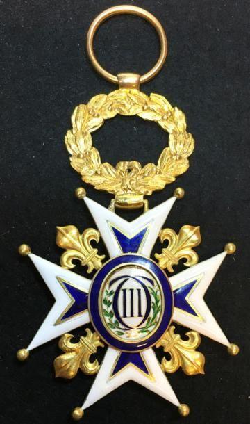 Ordre de Charles III, fondé en 1771, important bijou de grand-croix en or et émail,...