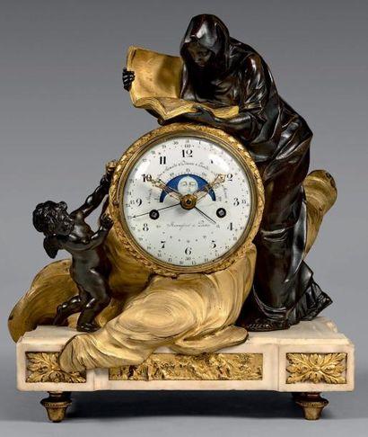 Pendule en bronze doré ornée d'une figure...
