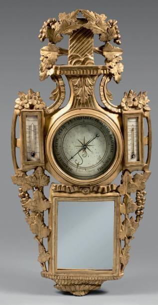 Baromètre-thermomètre à mercure et thermomètre...