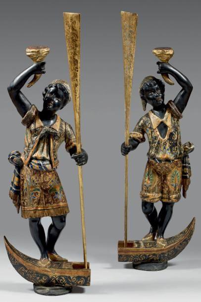 Paire de statuettes de gondoliers maures...
