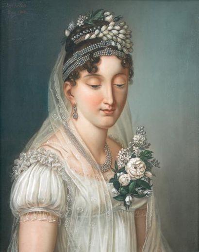 Maurice MOUTON (actif au début du XIXe siècle) Portrait d'une jeune mariée Pastel...