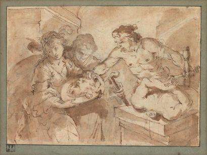 Ecole italienne du XVIIe siècle La décollation de saint Jean Baptiste Plume, lavis...