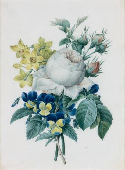École Française du XIXe siècle Bouquet de narcisses, pensées et anémones Bouquet...