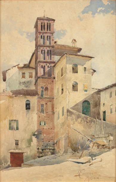 Onorato Carlandi (1848-1939) Vue d'une église en Italie Aquarelle signée en bas à...