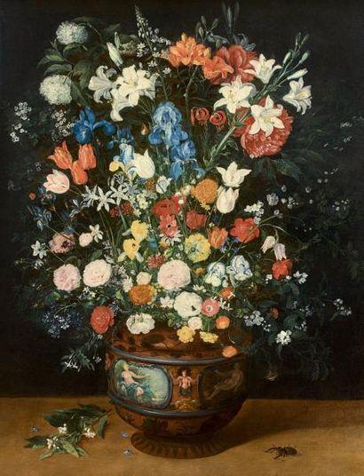 Jan BRUEGHEL le Jeune (Anvers 1601 - Anvers 1678) Grand bouquet de fleurs dans un...