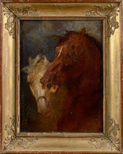 École Française du XIXe siècle Deux têtes de chevaux Huile sur toile. 32,8 x 27,2...