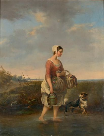 Emanuel NOTERMAN (18708-1863) Jeune paysanne allant aux champs Huile sur toile signée...