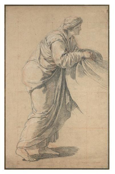 Joseph-Benoît SUVÉE (1743-1807) Femme âgée, vue de profil, tenant un linge. Pierre...