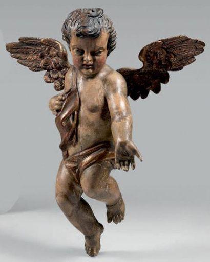Grande statuette d'ange dans les nuées en...
