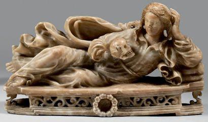 Statuette en albâtre anciennement polychrome...