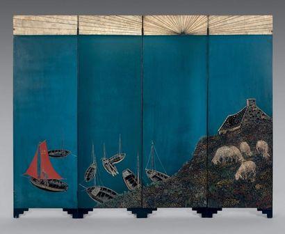 Jean DUNAND (1877-1942) Paravent quatre feuilles «Bretagne 1926» en laque bleu cobalt...