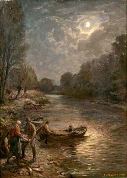 GRAMBUSCH Retour de pêche - Retour de chasse Deux huiles sur toile, faisant pendant,...
