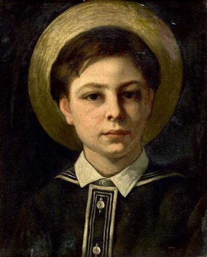 Gabriel Paul GUILLOT (1850-1914) L'enfant au chapeau de paille Huile sur toile. (Accidents...