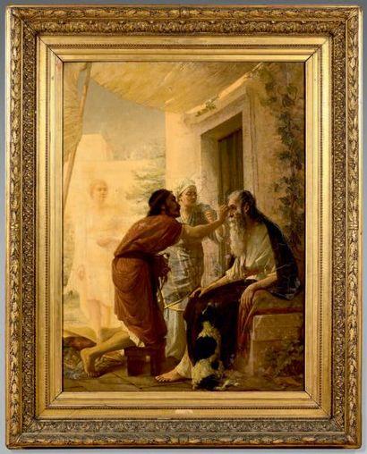 Gabriel Paul GUILLOT (1850-1914) Tobie et l'ange, 1878 Huile sur toile, signée et...
