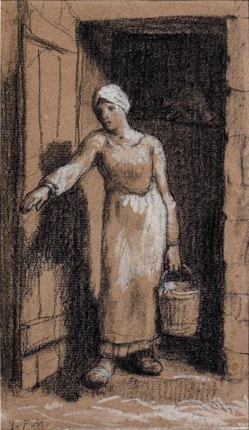 Jean-François MILLET (1814-1875) Laitière sortant de l'étable un seau à la main Dessin...