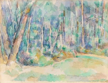 Paul CEZANNE (1839-1906) Intérieur de forêt, 1904-1906 Aquarelle et mine de plomb....