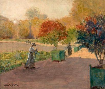 Paul de FRICK (1864-1935) Promeneurs au parc Huile sur toile, signée en bas à gauche...