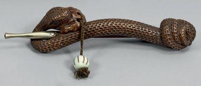 JAPON - Fin de l'époque Edo (1603-1868) Kizeruzutsu en bois en forme de serpent lové...