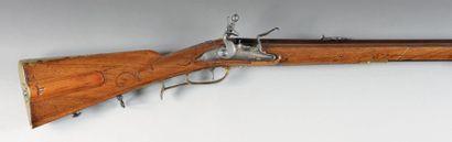 Belle carabine de chasse à silex de «D. Fecht»,...