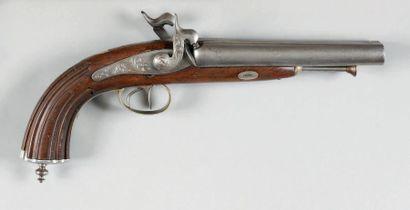 Pistolet de chasse double à percussion, calibre 17, 4 mm. Canons ronds, damas, en...