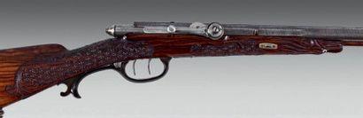 Beau et rare fusil de chasse à percussion par aiguilles, système Dreyse, deux coups....