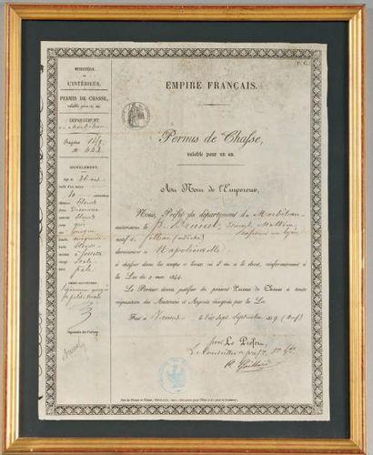 Permis de chasse «Empire Français» (Second Empire). Département du Morbihan. Fait...