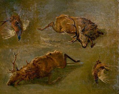 Louis-Charles BOMBLED (1862-1922) Études de cerfs et faisans Huile sur toile, rentoilée,...
