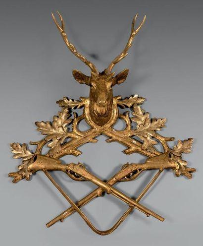 Élément décoratif en Bois doré sculpté d'une...