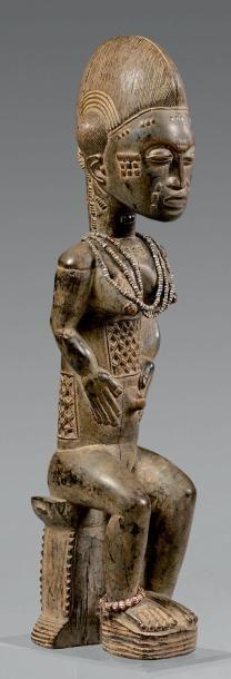Statue Baoule, Côte d'Ivoire. Bois à patine...