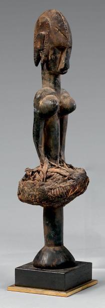 Sceptre Bambara, Mali. Bois à patine brune, fibres végétales. Hauteur: 36 cm Sculpté...