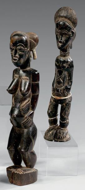 Lot de deux statuettes Baoule, Côte d'Ivoire....