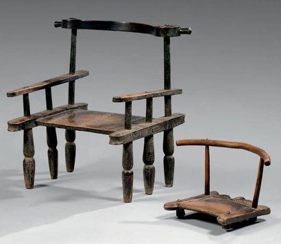 Lot de deux chaises Senoufo, Côte d'Ivoire....