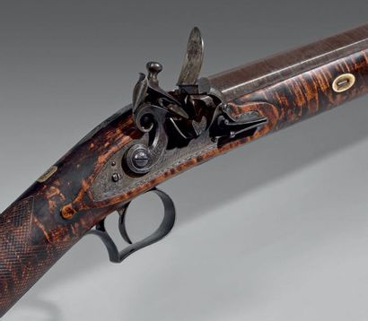 Fusil de chasse anglais à silex, un coup,...