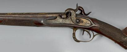 Fusil de chasse à silex transformé à percussion,...
