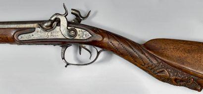Fusil de chasse, deux coups, à silex transformé...