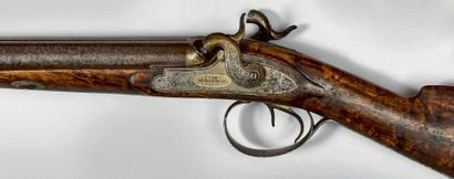 Fusil de chasse à percussion, deux coups....