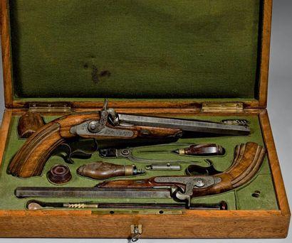 Coffret nécessaire de pistolets de duel,...