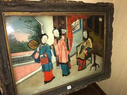 Fixé sous verre, travail d'Asie. XIXème ...