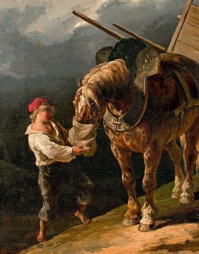 Théodore GÉRICAULT (Rouen, 1791 - Paris, 1824) Garçon donnant l'avoine à un cheval...