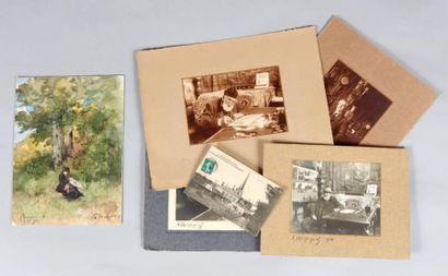 Henri Joseph HARPIGNIÈS (1819-1916) Lot de quatre photos, trois de Harpignies dans...