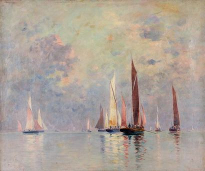 Fernand LEGOUT-GERARD (1856-1924) Toutes voiles dehors Huile sur toile, signée et...