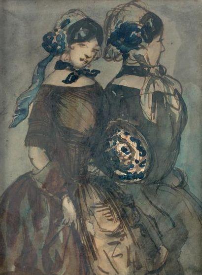 CONSTANTIN GUYS (1802-1892) Les deux Lorettes Lavis. 22,5 x 16,5 cm