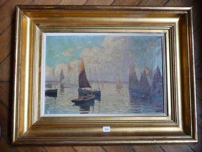 Henri-Maurice CAHOURS (1889-1974) Les voiliers dans un port breton Huile sur toile,...