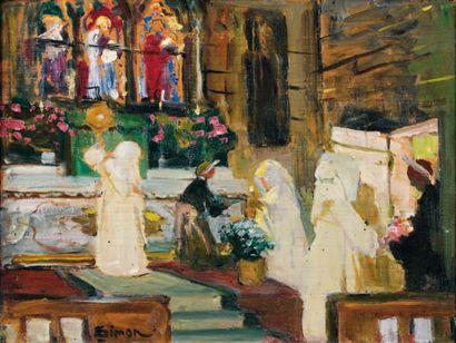 Lucien SIMON (1861-1945) À l'église Huile sur panneau, signée en bas vers la gauche....
