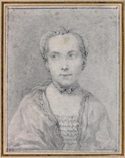 École FRANÇAISE du XVIIIe siècle Portrait de femme Mine de plomb. Trace de signature...