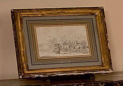 Jacques-François-Joseph SWEBACH-DESFONTAINES (1769-1823) Scène militaire Plume et...