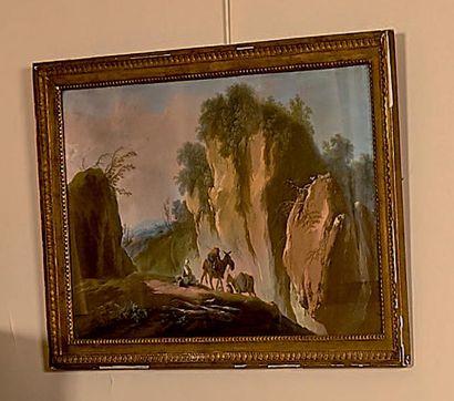 Jean PILLEMENT (1728-1808) Scène de patinage Paysage montagneux Deux pastels, formant...
