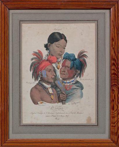 Deux lithographies mises en couleur d'après Boilly: Osages. Cadres en pitchpin....