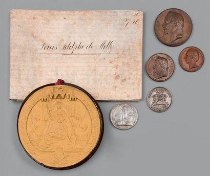 Lot de médailles de table et divers: - Napoléon...